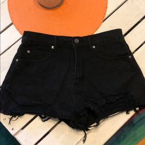 Distressed black High Waisted Jean Shorts
